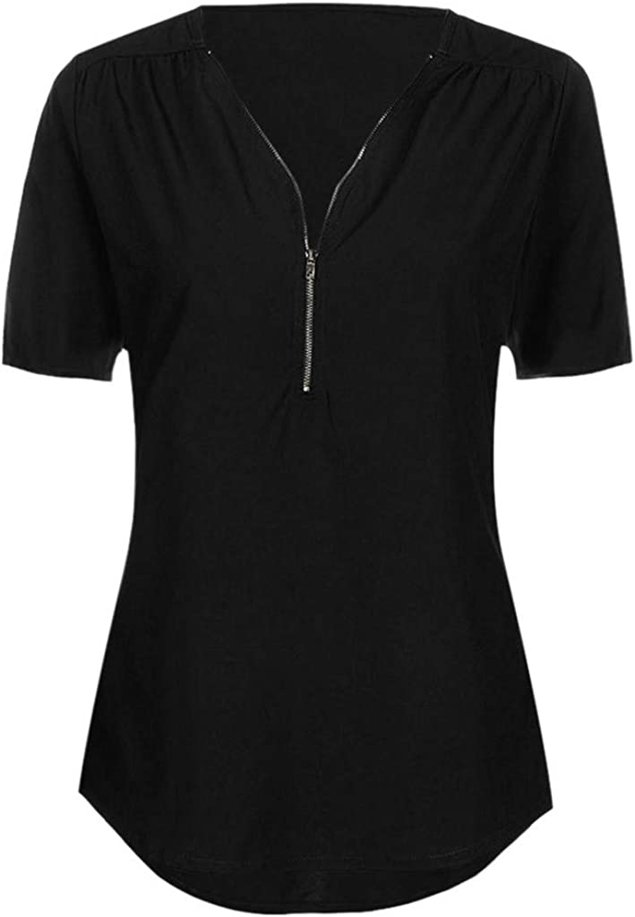 Womens Tops Neck Zipper Loose T-Shirt Tunic Blouses and Tops F/_Gotal Womens Casual Solid Blouse Summer Loose Vest V