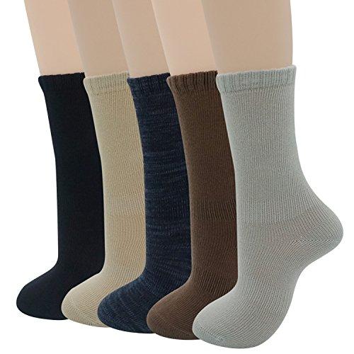 Womens Dress Socks Solid Color Cotton Winter Warm Comfy Reinforced Crew Socks