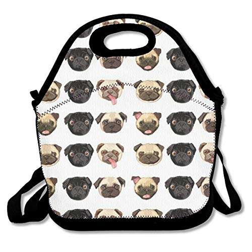 Kids Children Lunch Bag Lunch Box - Cute Funny Pug Dog Durable Lunch Pouch Containers, Leak-Proof, Mom Bag with Zipper, Adjustable Strap, Compact/Reusable/Insulated