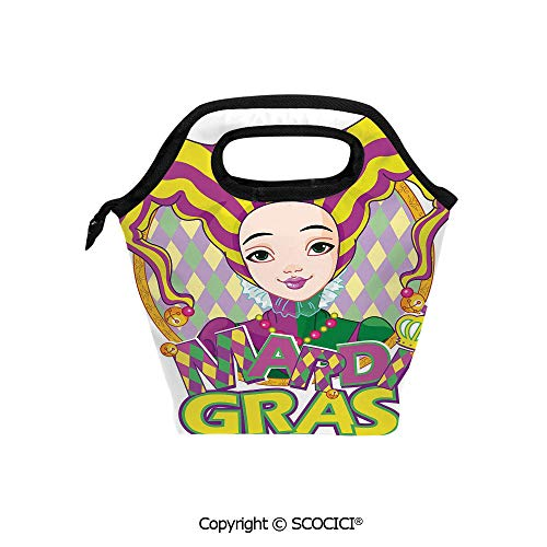 Picnic Food Insulated Cooler Tote Lunch Bag Carnival Girl in Harlequin Costume and Hat Cartoon Fat Tuesday Theme Organizer Lunchbox for Women Men Kids.
