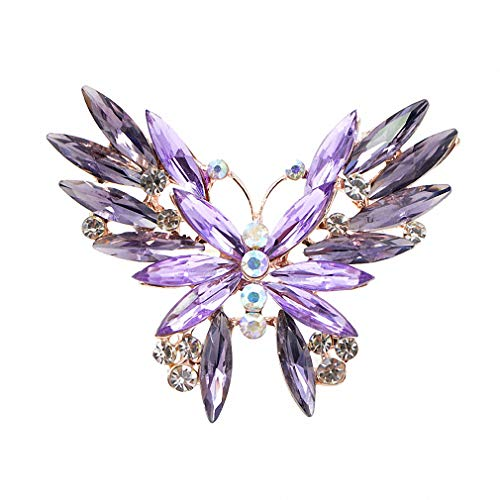 Butterfly Dress Brooch (Jana Winkle 2 Colors Rhinestone Butterfly Brooches Women Insect Dress Accessories Party Jewelry Purple)