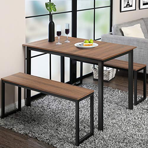 Homury 3 Piece Dining Table Set Breakfast Nook Dining Table with Two Benches,Industrial Brown