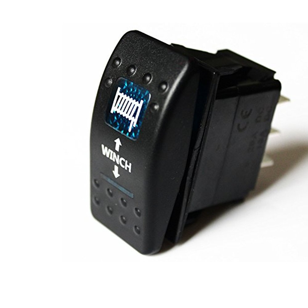 E Support/™ 12V Auto KFZ Licht Blau LED Lichtleiste Beleuchtet Wippenschalter Kippschalter Auto-Armaturenbrett Schalter Winch in out Light 7 Polig Momentschalter