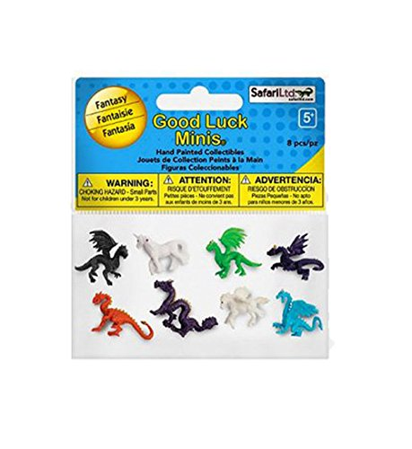 Safari Ltd. Good Luck Minis - Fantasy Fun Pack  - 8 Pieces - Quality Construction from Phthalate, Lead and BPA Free Materials - For Ages 5 and Up - Luck Dragon