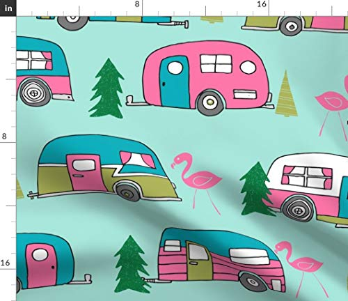 Spoonflower Large Vintage Camper Mint and Pink Vintage Campervan Fabric - Camper Rv Caravan Flamingo Retro Trailer Nature by Andrea Lauren Printed on Petal Signature Cotton Fabric by The Yard