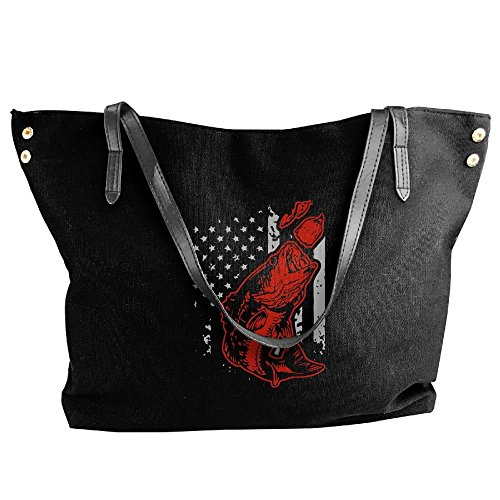 (Women's Canvas Shoulder Bag,Bass Fishing Lure And American Flag Printing Work Bag For)