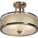 3-Light Casual Modern Semi Flush Mount Drum Ceiling Light with Frosted Shade in Brushed Nickel