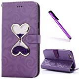 iPhone 5S 5 SE Case Cover EMAXELER Stylish Quicksand Hourglass Liquid Kickstand Flip Credit Cards Slot Cash Pockets PU Leather Flip Wallet Case For iPhone 5S Purple PU Purple