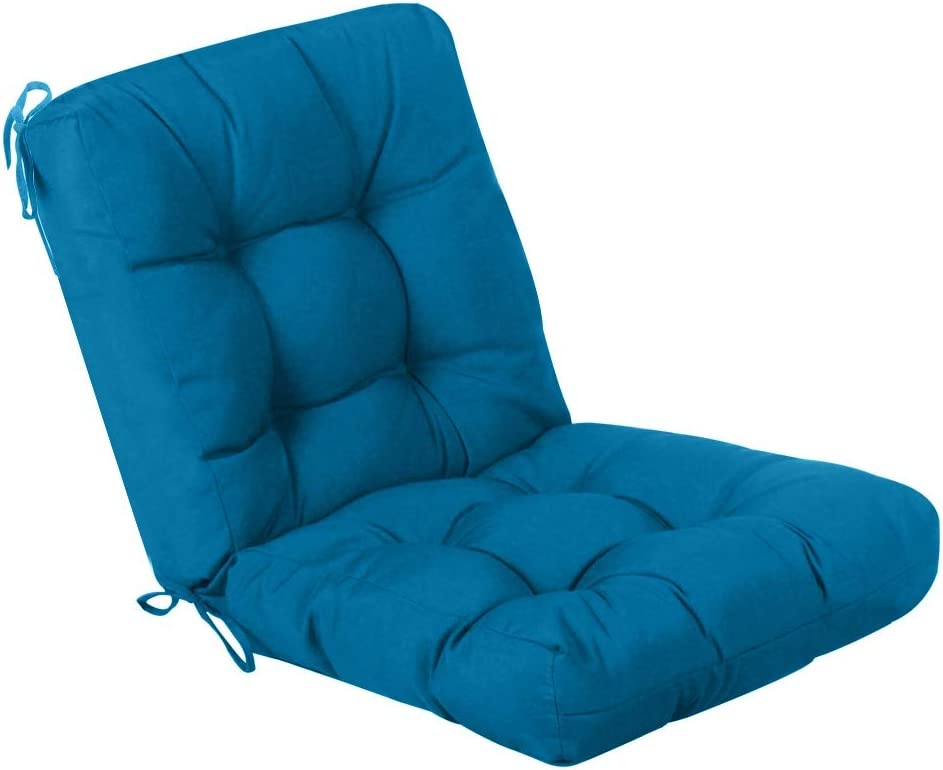 QILLOWAY Outdoor Seat/Back Chair Cushion Tufted Pillow , Spring/Summer Seasonal Replacement All Weather Cushions. (Peacock Blue)