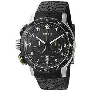 Edox Men's 10305 3NV NV Chronorally 1 Analog Display Swiss Quartz Black Watch
