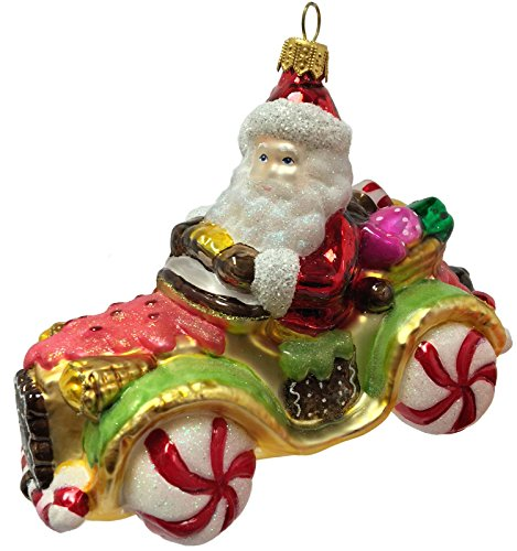 - Pinnacle Peak Trading Company Santa Claus Riding in Candy Dessert Car Polish Glass Christmas Tree Ornament
