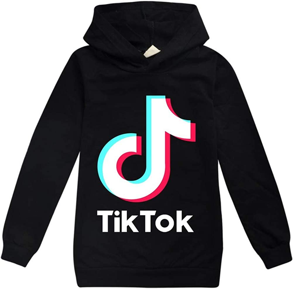 Girl TIK Tok Hoodies Outdoor Sport Sweatshirt Unisex Kids Clothes Outerwear Black, 9-10years