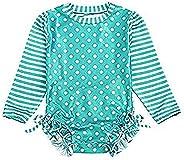 Baby/Toddler Girl Swimsuit Long Sleeve One-Piece Swimwear Rashguard UPF 50+ Sun Protection Rash Guard