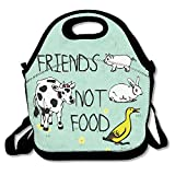 Friends Not Food Vegan Waterproof Lunch Tote Bag Insulated Reusable Picnic Lunch Boxes For Men Women Kids