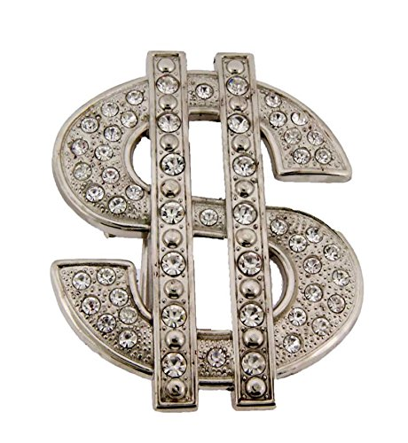 - Dollar Sign Usd Currency Iced Out Hip Hop Bling Silver Belt Buckle Men's Unisex
