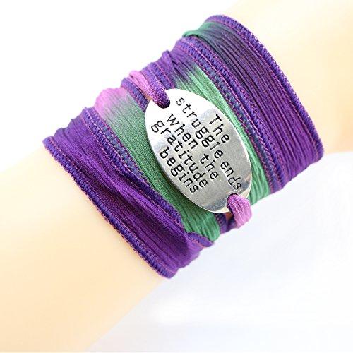 Motivational Beach Bracelet Bohemia Silk Wrap Jewelry Mantra Saying Inspirational Engraved (The struggle ends when the gratitude begins) - Jb Vintage Bracelets