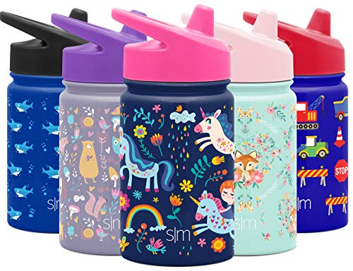 Simple Modern Kids Insulated Cup with Lid and Silicone Straw Stainless Steel Flask Metal Thermos for Toddlers Boys and Girls, 10oz Sippy, Unicorn Rainbows