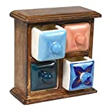 Indian Heritage – Wooden Jewelry Box Mango Wood Ceramic Drawer with 4 Mini Boxes in Walnut Finish