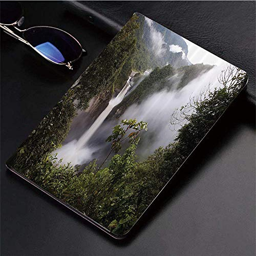 (Compatible with 3D Printed iPad 9.7 Case,San Rafael Falls Ecuador Misty Natural Waterfall in Lush Jungl,Lightweight Anti-Scratch Shell Auto Sleep/Wake, Back Protector Cover iPad 9.7
