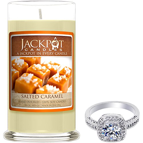 Salted Caramel Candle with Ring Inside (Surprise Jewelry Valued at $15 to $5,000) Ring Size (Caramel Candles)