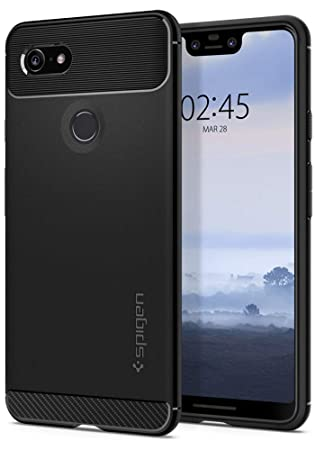 Spigen [Rugged Armor] Case for Google Pixel 3 XL, Original Patent Carbon  Fiber Design Flexible Slim TPU Phone Cover for Google Pixel 3 XL Case -  Black