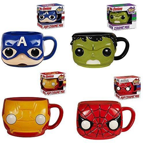 Funko Spider-Man, Hulk, Captain America, Iron Man Pop! Home 12 oz. Mugs Set of 4