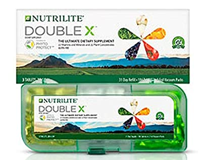 Nutrilite Double X Vitamin/Mineral / Phytonutrient Supplement - 31-Day Supply with 3-Compartment Case