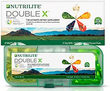 Nutrilite Double X Vitamin/Mineral / Phytonutrient Supplement – 31-Day Supply with 3-Compartment Case