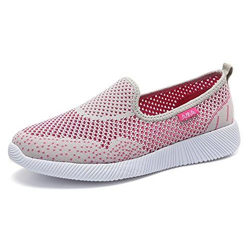 Femmes Enllerviid Poids Léger Aller Facile Glisser Sur Des Chaussures De Marche En Maille Talon Plat 6301 Gris Clair