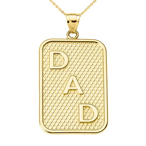 Men's Fine 10K Yellow Gold DAD Dog-Tag Engravable Pendant Necklace with 18