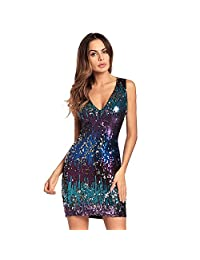 LIN&LV Women's Sexy Glitter Sequin Dress V Neck Cocktail Evening Party Clubwear