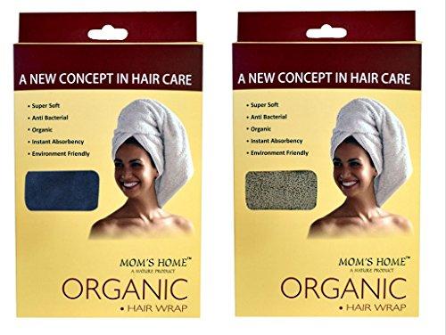 Mom's Home - Hair wrap Organic towel - Pack of 2 ( 1 Navy, 1 Beige)