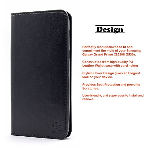 Galaxy Grand Prime Case, NageBee - Wallet Flip Case Pouch Cover Fold Stand case Premium Leather Wallet Flip Case for Samsung Galaxy Grand Prime with free Microfiber Cleaning Cloth (Fold Wallet Black)
