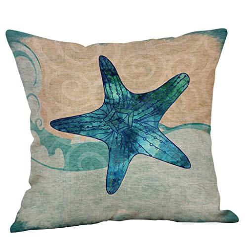 ALLYOUNG Home Decorative Cotton Linen Square Throw Pillow Case Sofa Waist Cushion Cover