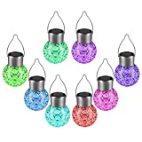 Beinhome Garden LED Solar Hanging Lights Outdoor (8 Pack), Outdoor Hanging Decorative Globe Light Auto Color Changing LED Ball Lantern Landscape Lighting for Garden Patio Yard Window Decor