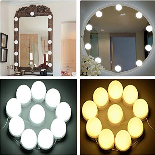 Vanity Mirror Lights, LED Vanity Mirror Lights Kit with Dimmer and USB Phone Charger, LED Lights for Mirror Hollywood Style Makeup Vanity Lights for Bathroom Dressing Room [Upgraded Version]