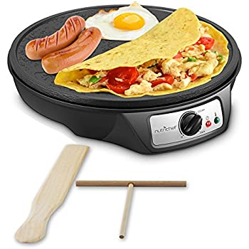 Nonstick 12-Inch Electric Crepe Maker - Aluminum Griddle Hot Plate Cooktop with Adjustable Temperature Control and LED Indicator Light, Includes Wooden ...