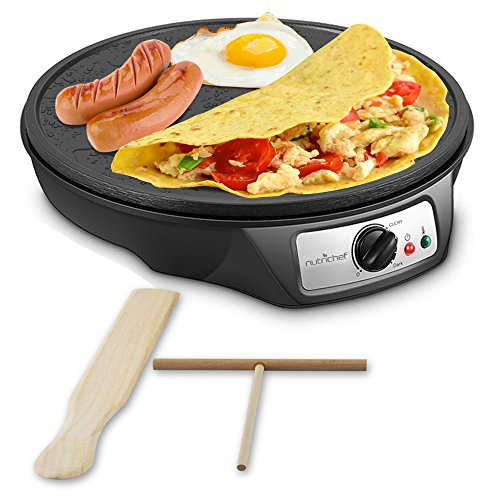 Nonstick 12Inch Electric Crepe Maker  Aluminum Griddle Hot Plate Cooktop with Adjustable Temperature Control and LED Indicator Light Includes Wooden Spatula and Batter Spreader  NutriChef