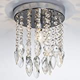 GLANZHAUS Mini Style Silver Twisted Leaf Hanging Fixture Bead Shade Crystal Chandelier Flush Mount Ceiling Light, Ceiling Light Fixture 1 Light 2 Tier 7.78″W 10.03″H For Sale