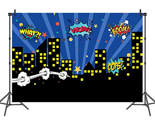 Sensfun 7x5ft Superhero City Backdrop for Party Skyline Comics Kids Vinyl Photography Background Super Citycape Birthday Decoration Photo Studio Props -