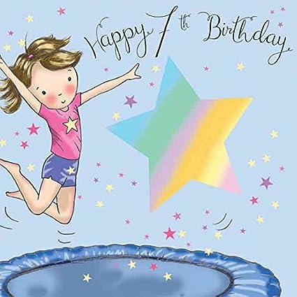 carte anniversaire fille 7 ans Twizler Carte d'anniversaire pour fille avec trampoline 7 ans 7