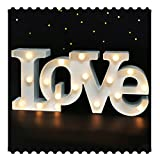 """Bright Zeal 7"""" Tall Large LED Love Marquee Sign Letters (White, 6hr Timer) - Love Signs Decor Wedding Signs - Light Up Letters for Wall Decor Battery Operated -Letter Decor for Table Decor for Party"""