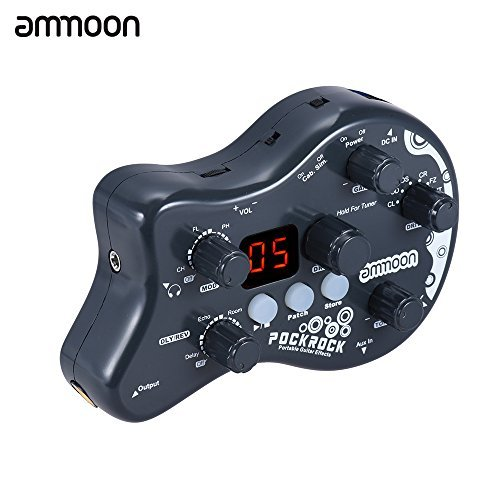 ammoon PockRock Guitar Multi-effects Processor Effect Pedal 15 Effect Types 40 Drum Rhythms Tuning Function with Power Adapter (Best Drum Pedal For Guitar)