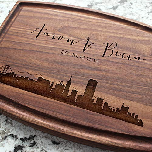 (City Skyline Personalized Cutting Board - Engraved Cutting Board, Custom Cutting Board, Wedding Gift, Housewarming Gift, Anniversary Gift, Engagement W-050GB)