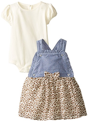 Nannette Baby Girls' Chambray Jumper with Printed Mesh Overlay, Off White, 24 (Girls Chambray Jumper)