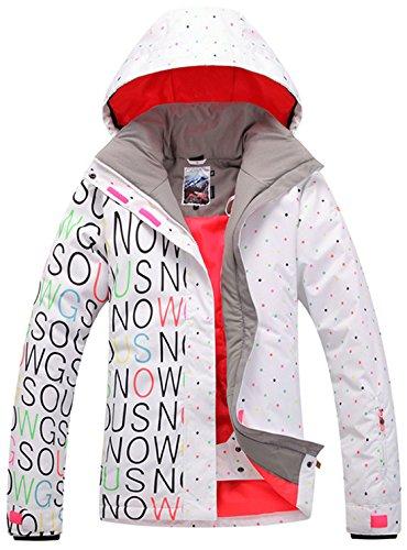 APTRO Women's Windproof Waterproof Ski&Snowboarding Jacket Letters&Dots White Size S (Jacket Snowboarding Ski)