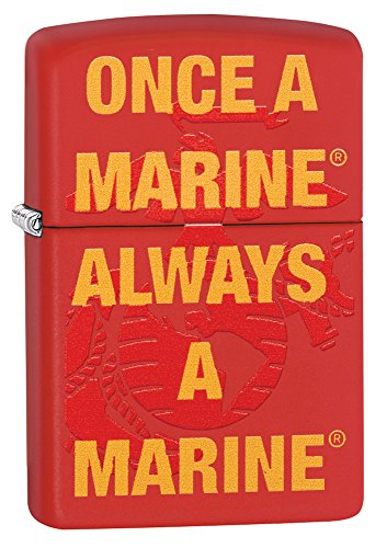 Zippo US Marine Corp Once A Marine Pocket Lighter, Red Matte