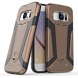 Galaxy S7 Case, KMISS [Heavy Duty] Dual Layer Armor Defender Hard Slim Hybrid Kickstand Shockproof Cover Case for Samsung Galaxy S7 2016 (Coffee)