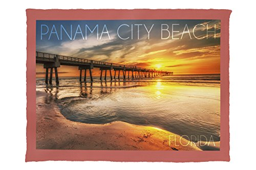 Panama City Beach, Florida - Pier and Sunset (60x80 Poly Fleece Thick Plush - City Pier In Panama