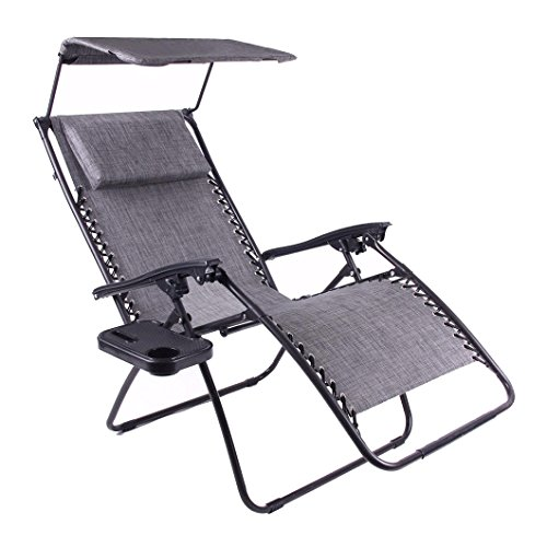 Just Relax Oversized Zero Gravity Chair with Pillow, Canopy, and Clip-On Table (Grey)